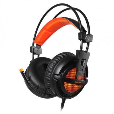 SADES Gaming Headset A6, multiplatform, USB, LED, μαύρα